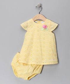 Yellow Eyelet Rose Dress & Diaper Cover