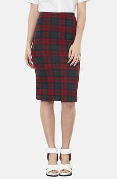Topshop Check Print Tube Skirt available at #Nordstrom