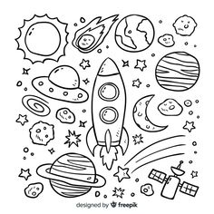Set of hand drawn cosmic elements. Cute Doodle Art, Doodle Art Drawing, Cute Doodles, Space Drawings, Mini Drawings, Doodles Bonitos, Coloring Books, Coloring Pages, Planet Drawing