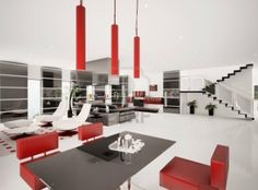 Fantastic Terrific Interior Chic Red Dining Chair Chandelier