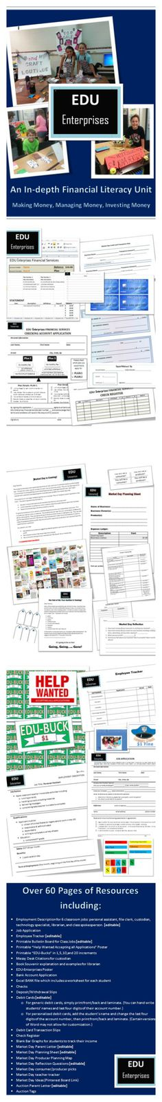 Start Your Own Classroom Economy! Everything you could need is included... all the work is done! Students love this--- find a job, get a bank account, start a business--- what's not to love?!?! Fun all school year long! Get it before school starts! Plus, it's on sale! http://www.teacherspayteachers.com/Product/EDU-Enterprises-A-year-long-unit-on-financial-literacy-via-a-classroom-economy-1351747