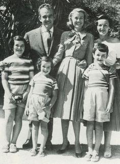 Newlyweds Prince Rainier and Princess Grace of Monaco with Rainier's sister, Princess Antoinette, Baroness de Massy, and her children.