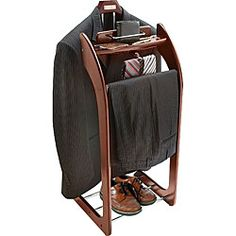 Mahogany Finish Clothes Valet Stand | Overstock.com Shopping - Great Deals on Garment Steamers