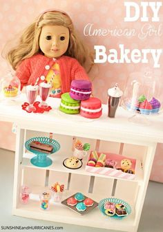 Here's a fun and easy DIY American Girl Doll Bakery that will save you money and build a memory if you make it with your daughter or granddaughter! This all wood market stand is simple and a fabulous afternoon project for the 18 inch doll lover in your life! Make fun food , especially desserts, that girls will love creatively playing with! This super DIY American Girl Doll  Bakery is one of a kind and makes a fantastic gift, too!