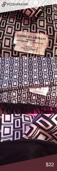 Black and white Armani men scarf silk cashmere This is a double faced men scarf 100% cashmere and the geometric side is 100% silk Giorgio Armani Accessories Scarves