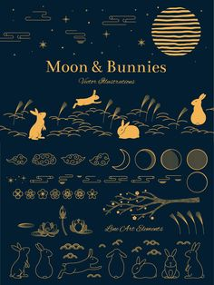 Moon & Bunnies by sceptical cactus Line Art Rabbit Illustration, Moon Illustration, Autumn Illustration, Free Vector Illustration, Vector Illustrations, Asian Design, Chinese Design, Logo Design, Graphic Design