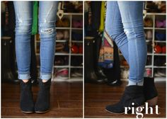"""Cuffing jeans with dipped booties. """"Since these boots have the dipped front, you don't need your entire ankle to show to achieve your goal of elongating your legs. Just a small half circle peeking out is enough, as shown."""""""
