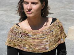 "Summer in the City--capelet version--knit with Fllece Artist ""Woolie Silk 3-Ply"" (handpainted yarn)"