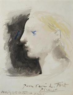 PABLO PICASSO (1881-1973) Marie-Thérèse de profil  12 3/8 x 9 5/8 in (31.5 x 24.5 cm) (Painted on 25 October 1932)