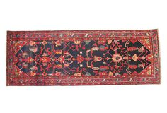 """Persian Hamadan Runner - wool  The process of weaving hand-knotted pile rugs is difficult Most Persian carpets use a symmetrical-style knot called the """"Turkish knot"""" for coarser rugs or an asymmetrical Persian-style knot to achieve a more delicate design and profile. The Momeni family began importing premium Persian carpets to the United States more than 50 years ago. Each of these hand-selected, one-of-a-kind Persian and Pakistani collectible floor coverings is a unique work of art"""