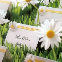 Our very own coordinating daisy theme place cards. Comes complete with mini gingham check ribbon and a mini faux daisy. Ships blank for your calligrapher to perform their magic.Each package contains 8 place cards.