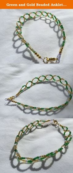 Green and Gold Beaded Anklet Bracelet 9 Inch. Green and Gold Beaded Anklet created using dark green glass seed beads, gold glass seed beads and clear glass tube seed beads attached to gold toned circle and lobster clasp. This beaded circular anklet is approximately 9 inches long as the piece will stretch a little bit. We measure just the beaded part of the anklet and do not include the findings.