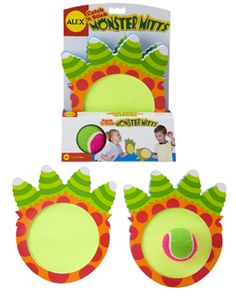 Fun! Catch N Stick Monster Mitts - 2 oversized foam monster mitts and a colorful tennis ball. Each mitt has a Velcro front surface and adjustable strap.