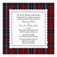 Blauer u. roter MacTavish Tartan-karierte Quadratische 13,3 Cm Einladungskarte
