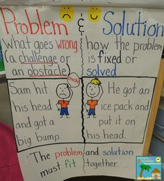 Your Problem? Teaching Problem and Solution - What's Your Problem? Teaching Problem and Solution {with a FREEBIE}What's Your Problem? Teaching Problem and Solution {with a FREEBIE} Kindergarten Anchor Charts, Reading Anchor Charts, Kindergarten Reading, Anchor Charts First Grade, Kindergarten Activities, Classroom Activities, Teaching Writing, Student Teaching, Teaching Ideas