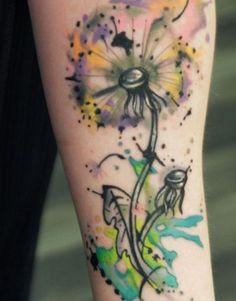 dandelion watercolor tattoos, arm tattoos, tattoo arts