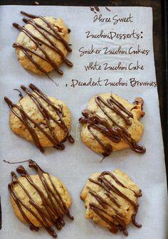 Three Different Decadent Zucchini Desserts- white zucchini cake, zucchini brownies, snicker zucchini cookies