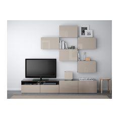 BESTÅ Combinação móvel TV - preto-castanho/Selsviken brilhante/bege, calha p/gaveta, abert pressão - IKEA