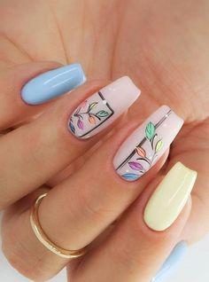 nail art designs for spring * nail art designs . nail art designs for spring . nail art designs for spring 2020 . nail art designs with glitter Almond Acrylic Nails, Cute Acrylic Nails, Cute Nails, Gel Nails, Coffin Nails, Spring Nail Art, Spring Nails, Summer Nails, Nagellack Design