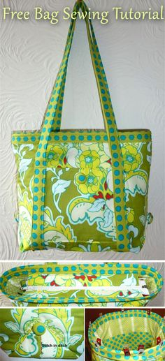 How to make a tote bag ~ DIY Tutorial Ideas! Quilted Tote Bags, Fabric Tote Bags, Diy Tote Bag, Diy Purse, Patchwork Bags, Fabric Basket, Bag Pattern Free, Bag Patterns To Sew, Sewing Patterns