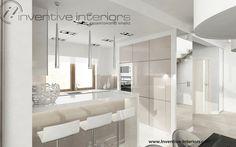 Projekt kuchni Inventive Interiors - biało beżowa kuchnia z barkiem