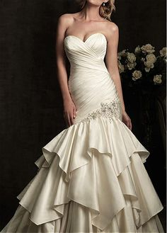 ELEGANT EXQUISITE SATIN MERMAID SWEETHEART WEDDING DRESS LACE BRIDESMAID PARTY COCKTAIL GOWN FORMAL BRIDAL PROM CUSTOM
