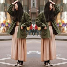 #stealthelook #look #looks #streetstyle #streetchic #moda #fashion #style #estilo #inspiration #inspired #allstar #converse #Parka #vestido #militar