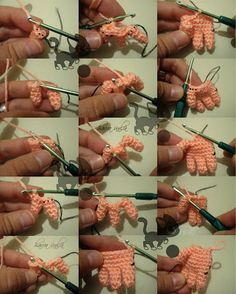 Amigurumi Making Hands - Photo Tutorial Moss * ༺✿ƬⱤღ https://www.pinterest.com/teretegui/✿༻