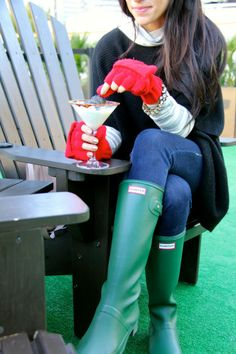 Gloves + hunter boots