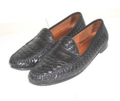 Allen Edmonds St. Lucia Men's Black Leather Woven Loafer Shoe Italy Size 12 D #AllenEdmonds #LoafersSlipOns