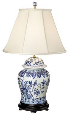 English Floral Hand-Painted Porcelain Ginger Jar Table Lamp | LampsPlus.com