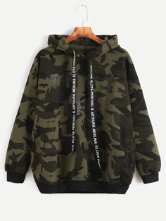 To find out about the Camo Letter Print Hooded Drop Shoulder Pockets Sweatshirt at SHEIN, part of our latest Sweatshirts ready to shop online today! Camo Outfits, Mode Outfits, Cute Casual Outfits, Stylish Hoodies, Cool Hoodies, Girls Fashion Clothes, Teen Fashion Outfits, Style Clothes, Mode Adidas