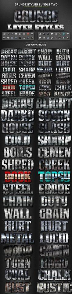 32 Grunge Styles Bundle 2. Layer Styles