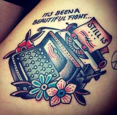 Traditional Tattoos – 100 All-Time Greatest Traditional Tattoos EVER - Beste Tattoo Ideen Sailor Jerry, Photomontage, Typewriter Tattoo, Traditional Tattoo Design, Traditional Tattoos, Tatto Design, Schrift Tattoos, Traditional Sleeve, Book Tattoo