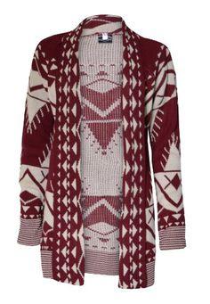 Womens Drape Front Aztec Long Cardigan