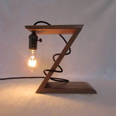Original wooden lamp. Decorative lamp. Night lighting. Loft lamp.