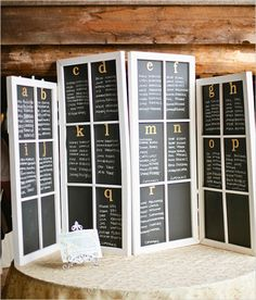 chalkboard wedding signs...oh alphabetical (just so they can find their name faster, not because they have to sit all together) AWESOME