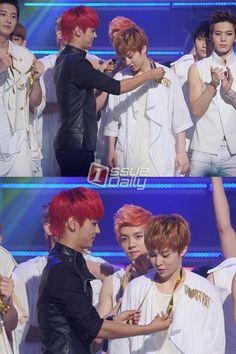 "VIXX and EXO--- Luhan looks so ticked like ""he's mine back off"" Btob, Tvxq, Sehun Oh, Exo Xiumin, 2ne1, N Vixx, Moorim School, Kim Jong Dae, All About Kpop"