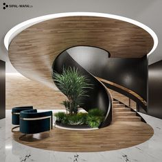 •Inspiration in design• discovered by • 𝗠 𝗜 𝗥 𝗘 𝗡 𝗞 𝗢 𝗩 • Home Stairs Design, Home Room Design, Dream Home Design, Modern House Design, Modern Interior Design, Interior Architecture, Amazing Architecture, Spiral Stairs Design, Design Homes