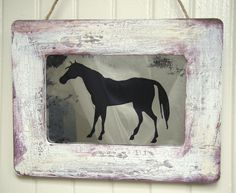 Rustic horse antiqued mirror from www.BusterJustis.Etsy.com #rustic#homedecor