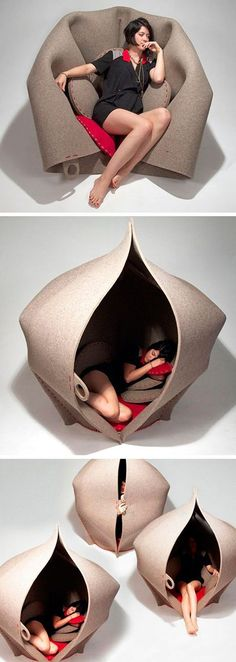 This is a really unique furniture to have. Although the concept of chairs to sleeping areas are totally common, this one has a much different take to it. It can be folded from the top so you can make it as a pod chair. Then you can pull those upward and slip inside like a tent.