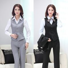 Formal Pantsuits Uniform Style 2015 Spring Autumn Business Office Work Wear Suits With Vest And Pants Ladies Female Blazers Set Blazers For Women, Pants For Women, Clothes For Women, Plus Size Suits, Lawyer Outfit, Uniform Design, Blazer Outfits, Business Outfits, Work Wear