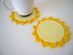 Set of 2 Sunflower Coaster by CoastersForYou on Etsy, $5.00