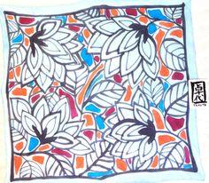 Hand Painted Square Silk Scarf Japanese Silk by SilkScarvesTakuyo