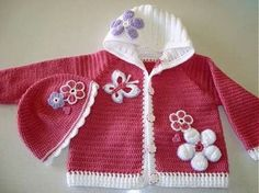 Crochet baby sweater so cute Crochet Baby Sweaters, Crochet Baby Cardigan, Crochet Coat, Crochet Baby Clothes, Baby Knitting, Crochet Baby Dress Pattern, Baby Dress Patterns, Crochet Patterns, Crochet Girls