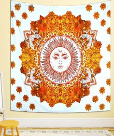 Mesmerizing medallion tapestry crafted in soft woven cotton. Instantly adds a unique touch of boho charm to any living space or dorm room. Doubles as a beach or picnic blanket and is festival-friendly, too!Size: x (Full/Queen Size)Colo. Elegant Living Room, Boho Living Room, Modern Living, Bohemian Wall Tapestry, Wall Tapestries, Orange Rooms, Green Armchair, Bohemian Design, Dorm Decorations