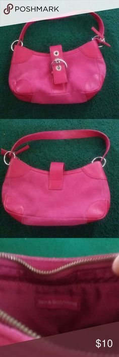Bath & Bodyworks Pink Leather Purse Small pink leather purse by Bath & Bodyworks. Buckle closure in front, zips closed on top. Non noticeable dirt spots on bottom and front. Great condition! Bags Mini Bags