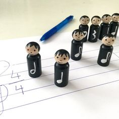 8 Music Note Peg Dolls Learning Notes Music by ScribbleBotStudio Wooden Pegs, Wooden Dolls, Piano Teaching, Teaching Kids, Reading Music, Learning Music Notes, Music Instruments Diy, Music Education Activities, Handmade Wooden Toys