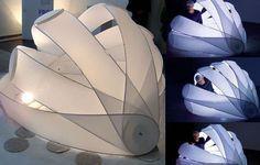"Art & Installation Markus Michalski as a ""furniture or micro architecture. Folding Architecture, Temporary Architecture, Interior Architecture, Homeless Housing, Portable Shelter, Shelter Design, Tent Design, Parametric Design, Tiny House Design"