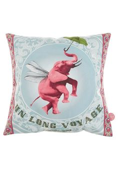 Bonjour Mon Coussin - VOYAGE - Cushion cover with pink elephant